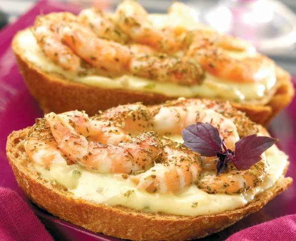 tartine chaude de crevettes sauce beurre citron recette. Black Bedroom Furniture Sets. Home Design Ideas